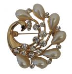 1950s style Gold tone Rhinestone and Mock Pearl Spray Brooch